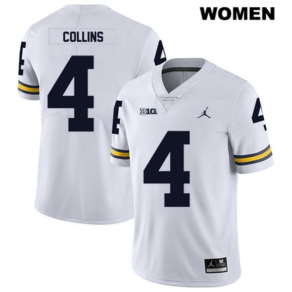 Womens no. 4 Legend Michigan Wolverines White Jordan Stitched Nico Collins Authentic College Football Jersey - Nico Collins Jersey
