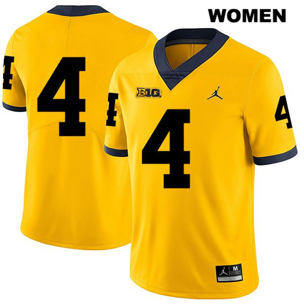 Womens Legend no. 4 Jordan Michigan Wolverines Yellow Stitched Nico Collins Authentic College Football Jersey - No Name - Nico Collins Jersey