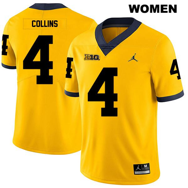 Womens no. 4 Stitched Michigan Wolverines Legend Yellow Nico Collins Jordan Authentic College Football Jersey - Nico Collins Jersey