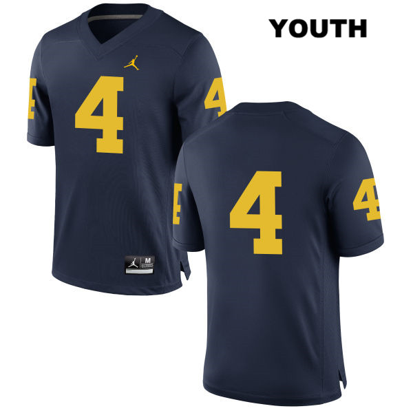 Youth no. 4 Michigan Wolverines Navy Jordan Nico Collins Stitched Authentic College Football Jersey - No Name - Nico Collins Jersey