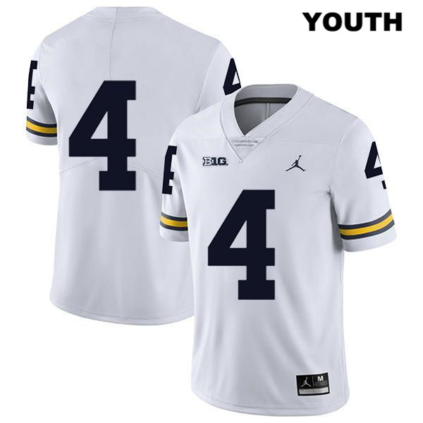 Jordan Youth no. 4 Michigan Wolverines Stitched White Legend Nico Collins Authentic College Football Jersey - No Name - Nico Collins Jersey
