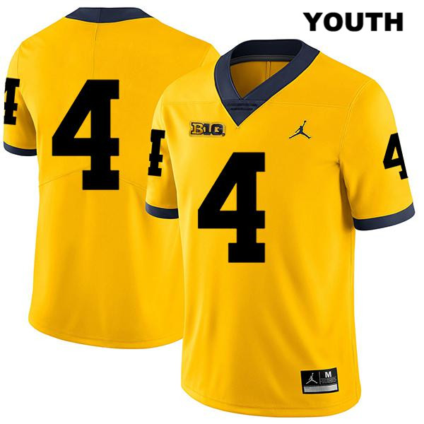 Stitched Youth Legend no. 4 Michigan Wolverines Yellow Nico Collins Jordan Authentic College Football Jersey - No Name - Nico Collins Jersey