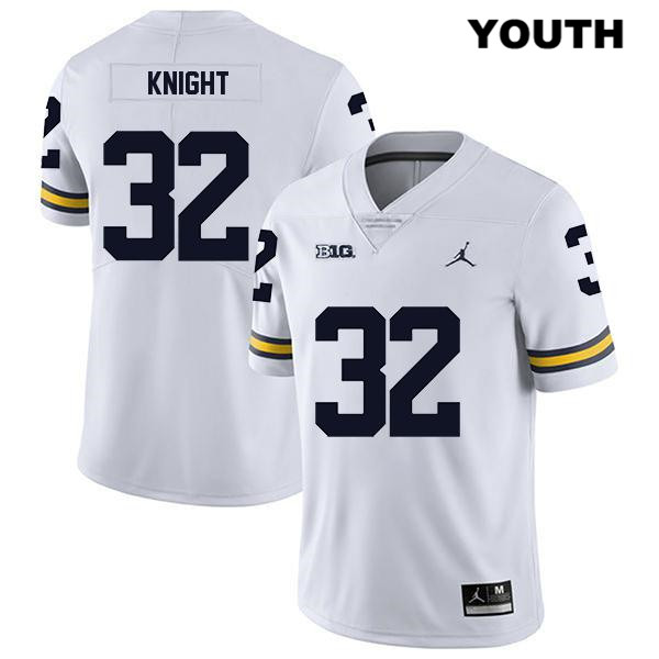 Youth Jordan no. 32 Michigan Wolverines White Stitched Nolan Knight Legend Authentic College Football Jersey - Nolan Knight Jersey