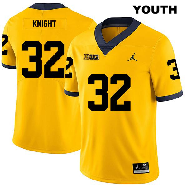 Youth no. 32 Michigan Wolverines Yellow Jordan Legend Nolan Knight Stitched Authentic College Football Jersey - Nolan Knight Jersey