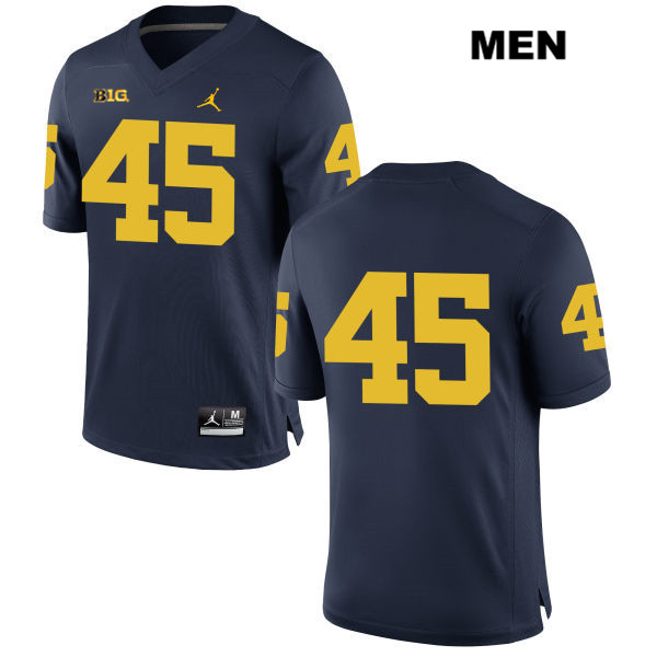 Mens Jordan no. 45 Michigan Wolverines Navy Peter Bush Stitched Authentic College Football Jersey - No Name - Peter Bush Jersey