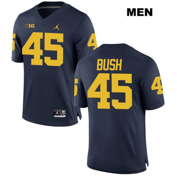 Mens no. 45 Stitched Michigan Wolverines Jordan Navy Peter Bush Authentic College Football Jersey - Peter Bush Jersey