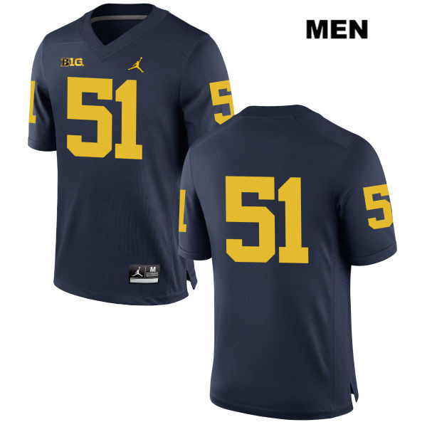 Mens no. 51 Michigan Wolverines Navy Jordan Peter Bush Stitched Authentic College Football Jersey - No Name - Peter Bush Jersey