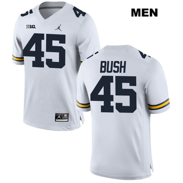 Mens no. 45 Michigan Wolverines White Stitched Peter Bush Jordan Authentic College Football Jersey - Peter Bush Jersey