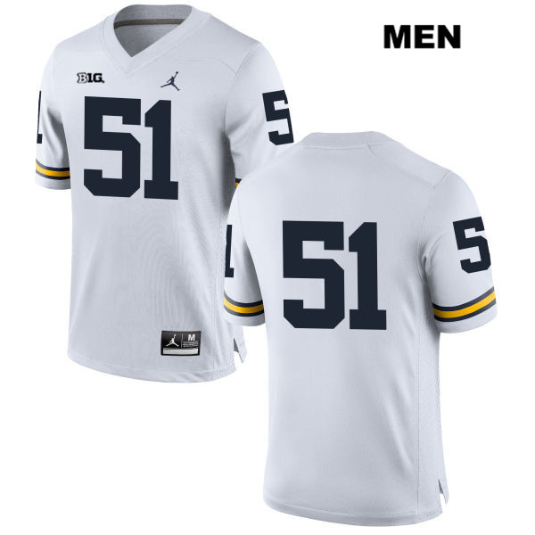 Mens Stitched no. 51 Michigan Wolverines Jordan White Peter Bush Authentic College Football Jersey - No Name - Peter Bush Jersey