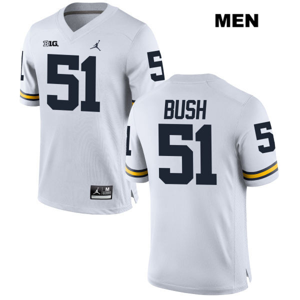 Mens no. 51 Stitched Michigan Wolverines Jordan White Peter Bush Authentic College Football Jersey - Peter Bush Jersey
