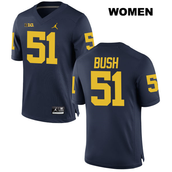 Stitched Womens Jordan no. 51 Michigan Wolverines Navy Peter Bush Authentic College Football Jersey - Peter Bush Jersey