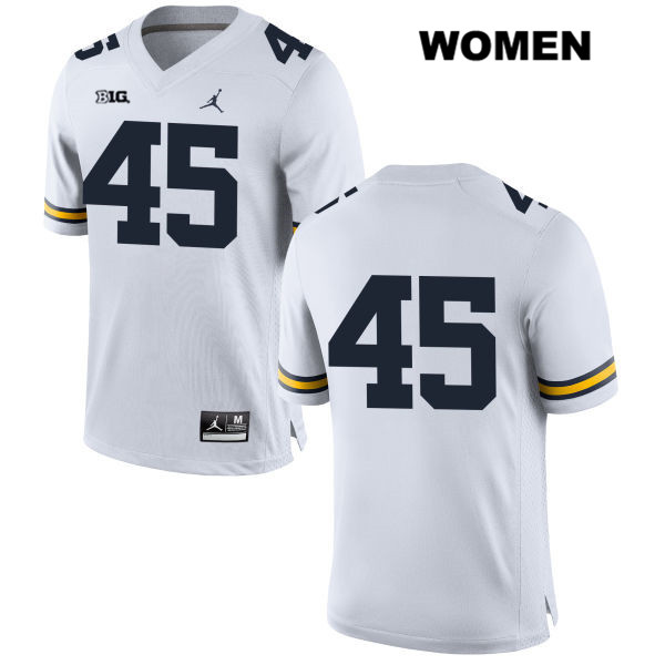 Womens no. 45 Michigan Wolverines Stitched White Jordan Peter Bush Authentic College Football Jersey - No Name - Peter Bush Jersey