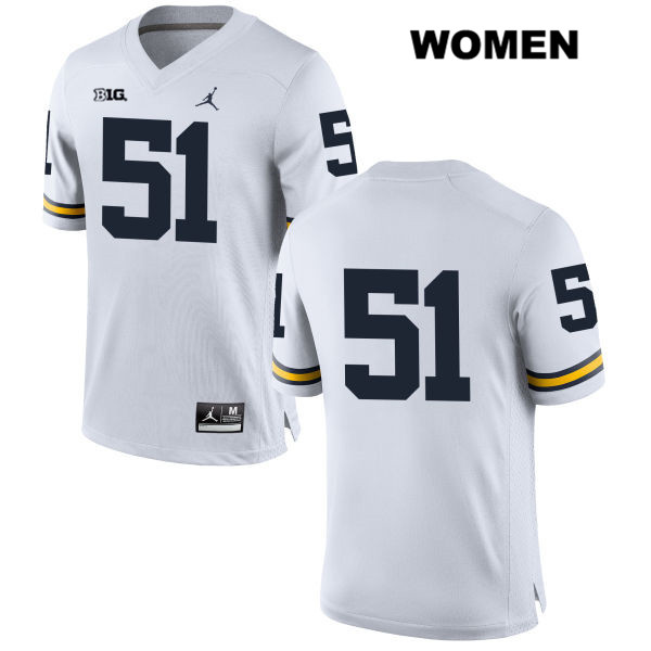 Womens Jordan no. 51 Michigan Wolverines White Stitched Peter Bush Authentic College Football Jersey - No Name - Peter Bush Jersey