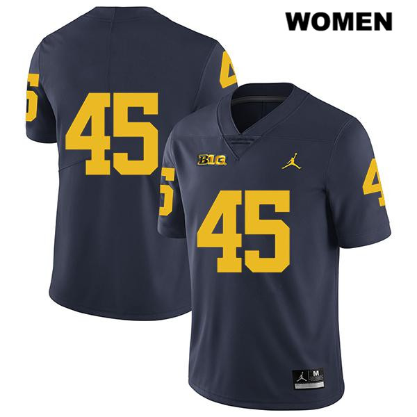 Stitched Womens no. 45 Jordan Michigan Wolverines Navy Legend Peter Bush Authentic College Football Jersey - No Name - Peter Bush Jersey
