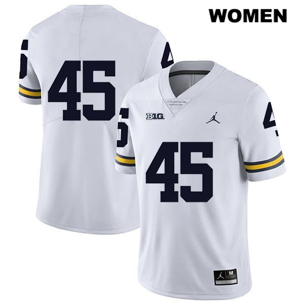 Womens Legend no. 45 Stitched Michigan Wolverines White Jordan Peter Bush Authentic College Football Jersey - No Name - Peter Bush Jersey