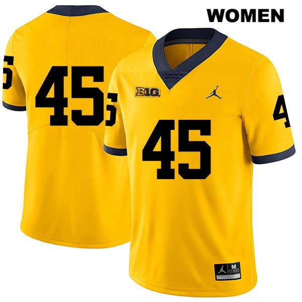 Womens no. 45 Legend Stitched Michigan Wolverines Yellow Jordan Peter Bush Authentic College Football Jersey - No Name - Peter Bush Jersey