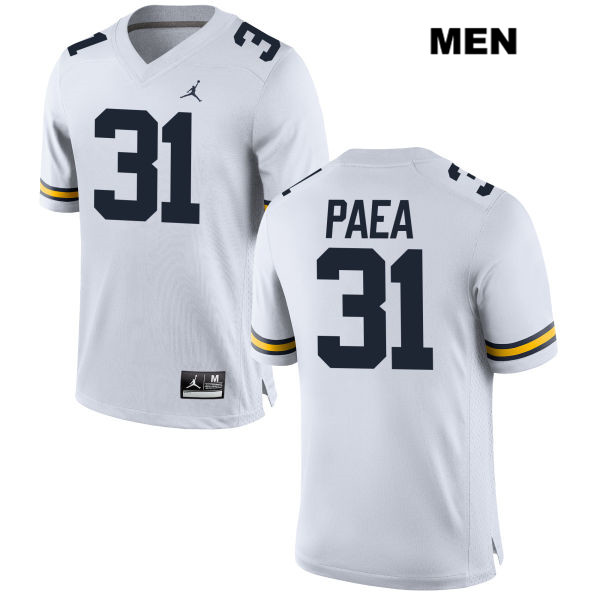 Jordan Mens Stitched no. 31 Michigan Wolverines White Phillip Paea Authentic College Football Jersey - Phillip Paea Jersey