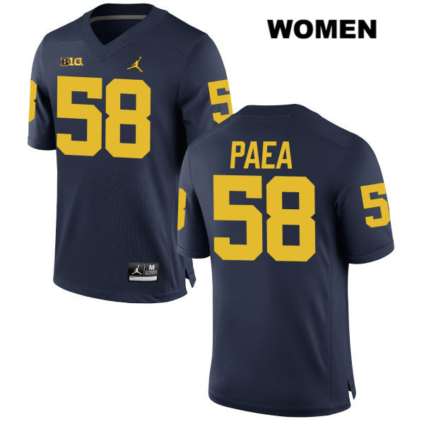 Womens no. 58 Michigan Wolverines Jordan Navy Stitched Phillip Paea Authentic College Football Jersey - Phillip Paea Jersey