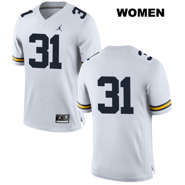 Womens Jordan no. 31 Stitched Michigan Wolverines White Phillip Paea Authentic College Football Jersey - No Name - Phillip Paea Jersey