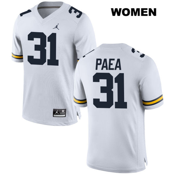 Womens Jordan no. 31 Michigan Wolverines White Stitched Phillip Paea Authentic College Football Jersey - Phillip Paea Jersey