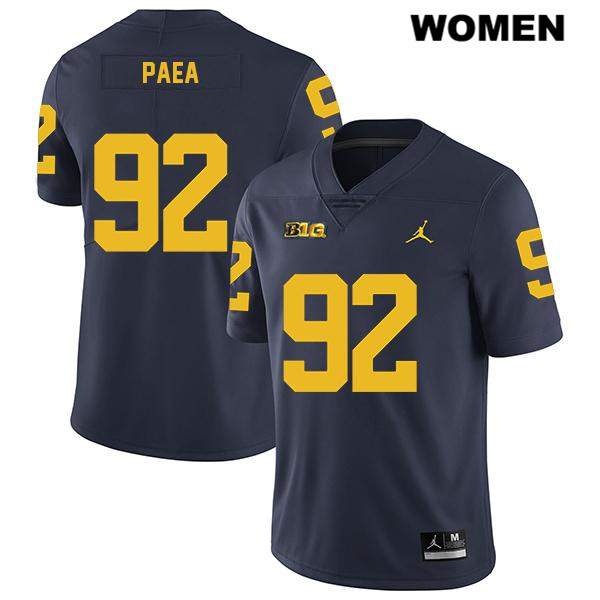 Womens Legend no. 92 Jordan Michigan Wolverines Stitched Navy Phillip Paea Authentic College Football Jersey - Phillip Paea Jersey