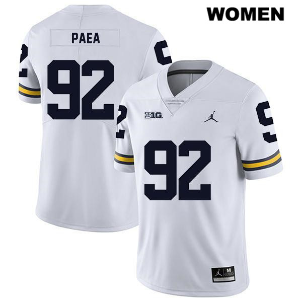 Womens Jordan Stitched no. 92 Michigan Wolverines White Phillip Paea Legend Authentic College Football Jersey - Phillip Paea Jersey