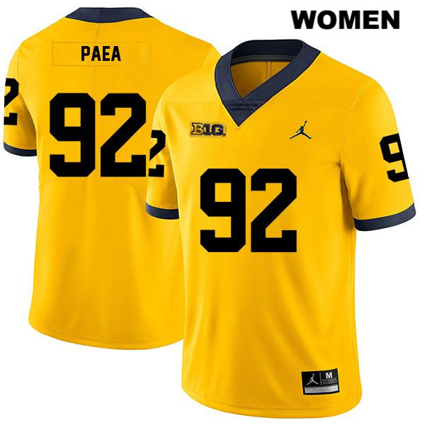 Womens no. 92 Legend Stitched Michigan Wolverines Yellow Phillip Paea Jordan Authentic College Football Jersey - Phillip Paea Jersey