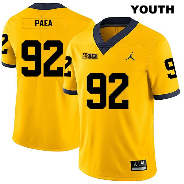 Youth no. 92 Stitched Michigan Wolverines Yellow Phillip Paea Jordan Legend Authentic College Football Jersey