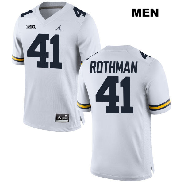 Mens no. 41 Jordan Michigan Wolverines White Stitched Quinn Rothman Authentic College Football Jersey - Quinn Rothman Jersey