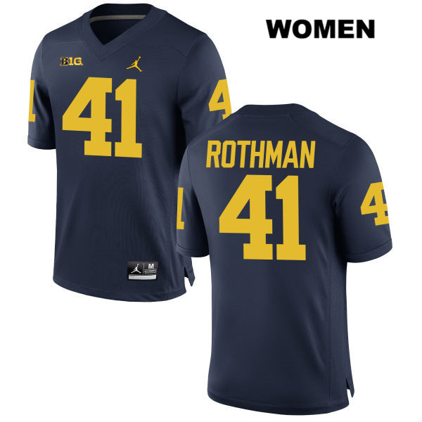 Womens no. 41 Stitched Michigan Wolverines Navy Jordan Quinn Rothman Authentic College Football Jersey - Quinn Rothman Jersey