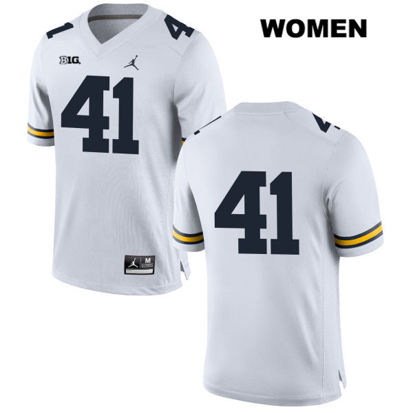 Womens no. 41 Stitched Michigan Wolverines White Quinn Rothman Jordan Authentic College Football Jersey - No Name - Quinn Rothman Jersey