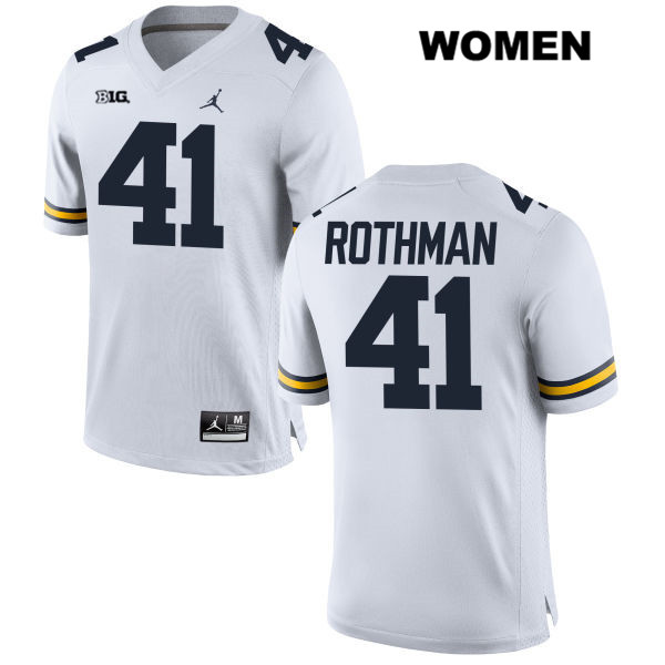 Womens no. 41 Michigan Wolverines White Stitched Quinn Rothman Jordan Authentic College Football Jersey - Quinn Rothman Jersey