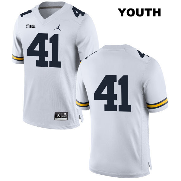 Youth Jordan no. 41 Stitched Michigan Wolverines White Quinn Rothman Authentic College Football Jersey - No Name - Quinn Rothman Jersey