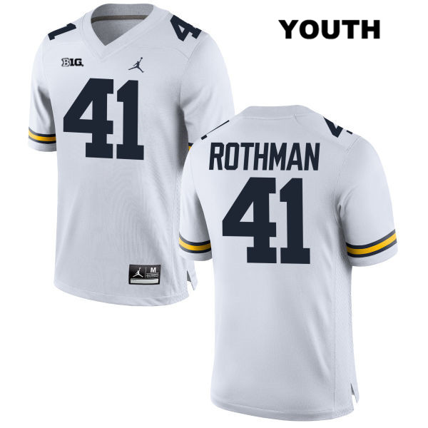 Youth no. 41 Stitched Michigan Wolverines White Jordan Quinn Rothman Authentic College Football Jersey - Quinn Rothman Jersey