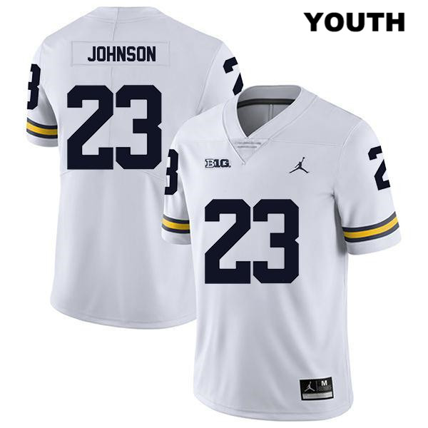 Youth Stitched no. 23 Michigan Wolverines White Legend Quinten Johnson Jordan Authentic College Football Jersey - Quinten Johnson Jersey