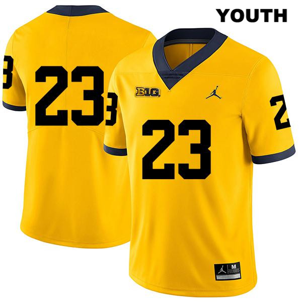 Youth Stitched no. 23 Jordan Michigan Wolverines Yellow Quinten Johnson Legend Authentic College Football Jersey - No Name - Quinten Johnson Jersey