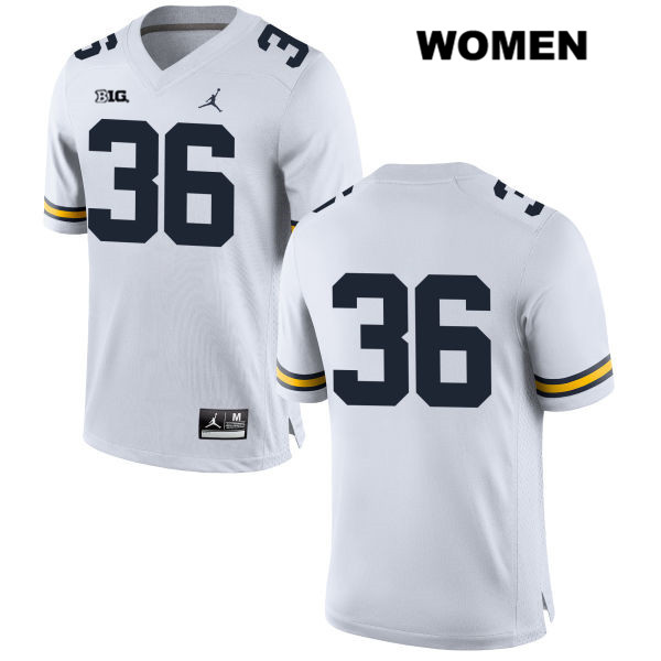 Womens Stitched no. 36 Michigan Wolverines Jordan White Ramsey Baty Authentic College Football Jersey - No Name - Ramsey Baty Jersey