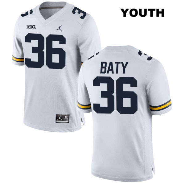 Stitched Youth no. 36 Michigan Wolverines White Ramsey Baty Jordan Authentic College Football Jersey - Ramsey Baty Jersey