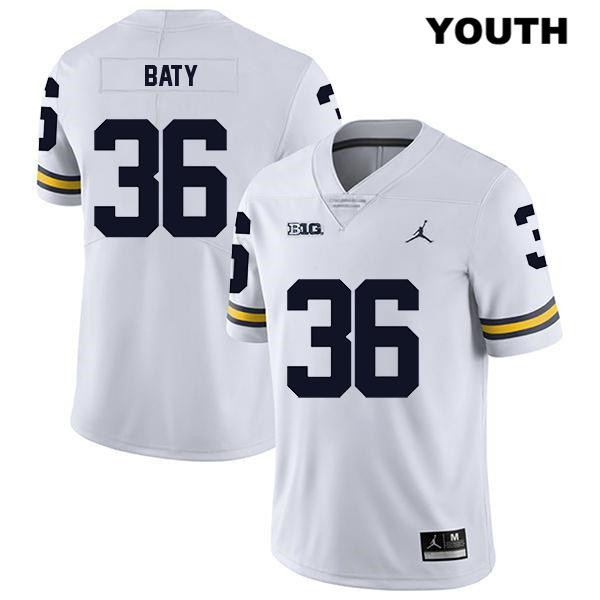 Youth Jordan no. 36 Michigan Wolverines Stitched White Legend Ramsey Baty Authentic College Football Jersey - Ramsey Baty Jersey