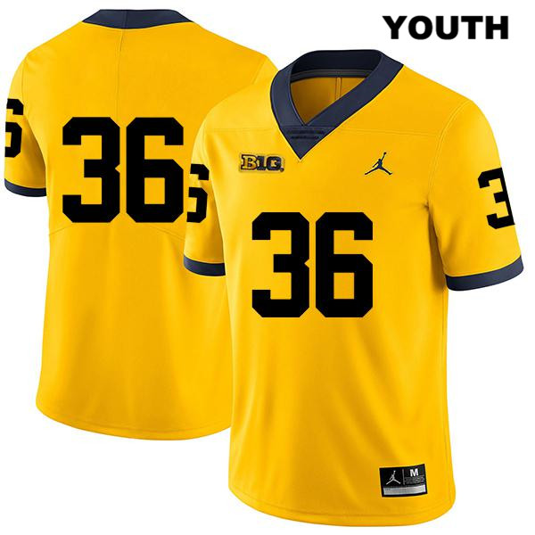 Youth Jordan no. 36 Legend Michigan Wolverines Yellow Stitched Ramsey Baty Authentic College Football Jersey - No Name - Ramsey Baty Jersey