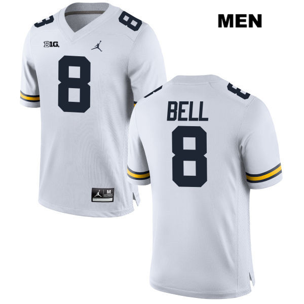 Mens no. 8 Stitched Michigan Wolverines White Jordan Ronnie Bell Authentic College Football Jersey - Ronnie Bell Jersey