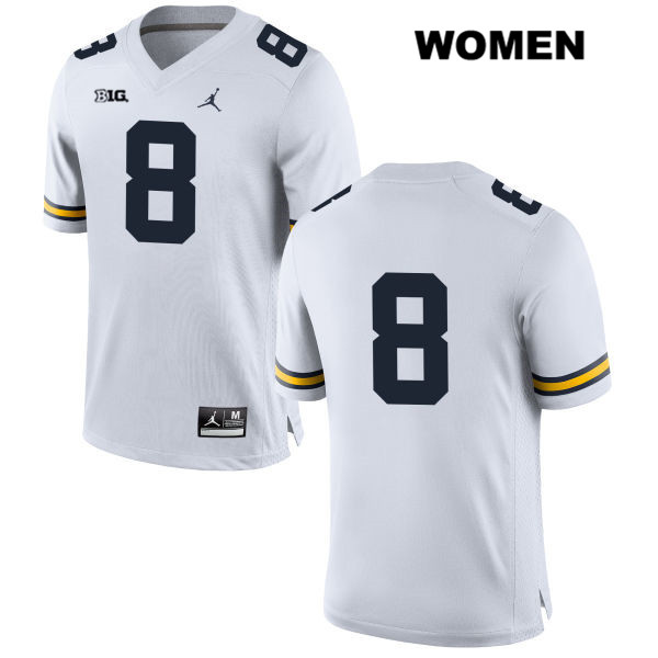 Womens Stitched no. 8 Michigan Wolverines White Jordan Ronnie Bell Authentic College Football Jersey - No Name - Ronnie Bell Jersey