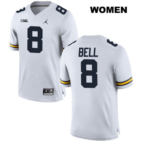 Womens no. 8 Stitched Michigan Wolverines Jordan White Ronnie Bell Authentic College Football Jersey - Ronnie Bell Jersey