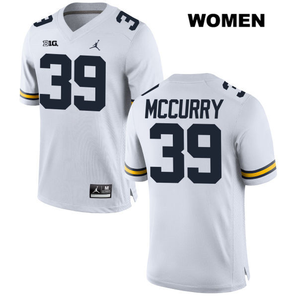 Womens no. 39 Michigan Wolverines Jordan White Stitched Ryan McCurry Authentic College Football Jersey - Ryan McCurry Jersey