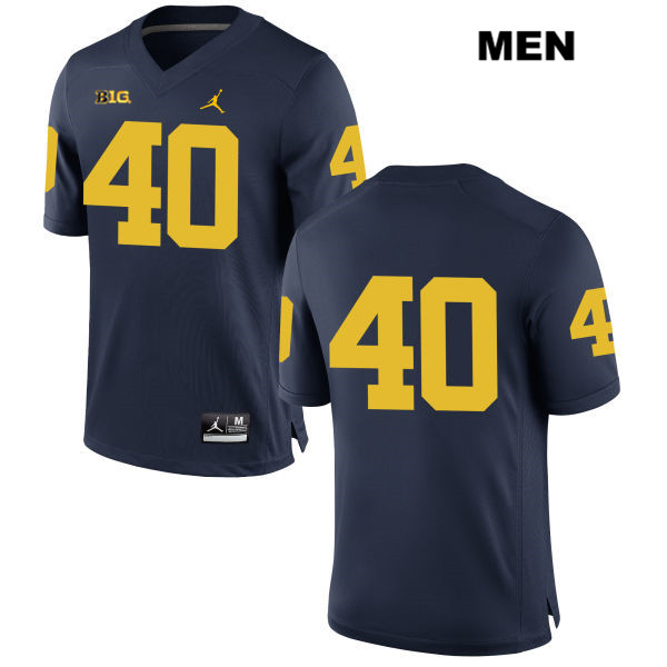 Mens no. 40 Jordan Michigan Wolverines Stitched Navy Ryan Nelson Authentic College Football Jersey - No Name - Ryan Nelson Jersey