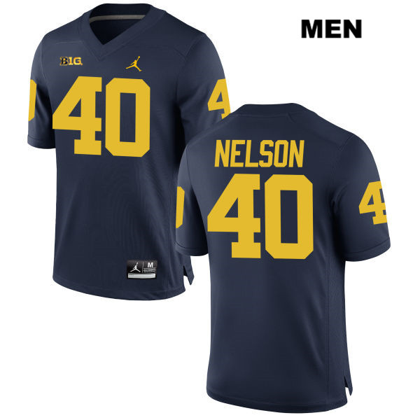 Stitched Mens no. 40 Jordan Michigan Wolverines Navy Ryan Nelson Authentic College Football Jersey - Ryan Nelson Jersey