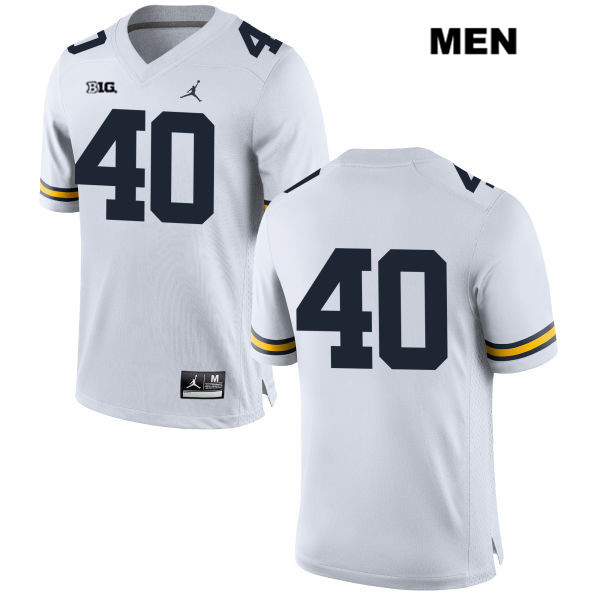 Mens Jordan no. 40 Michigan Wolverines White Ryan Nelson Stitched Authentic College Football Jersey - No Name - Ryan Nelson Jersey