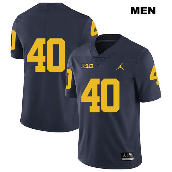 Stitched Mens no. 40 Michigan Wolverines Jordan Navy Legend Ryan Nelson Authentic College Football Jersey - No Name - Ryan Nelson Jersey
