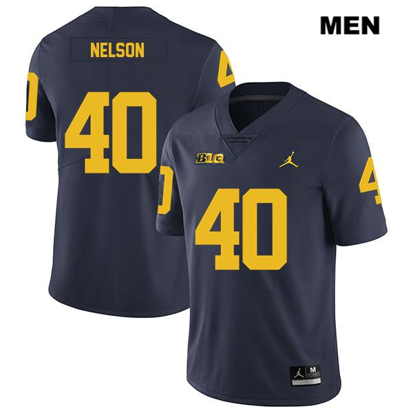 Mens Legend no. 40 Michigan Wolverines Stitched Navy Ryan Nelson Jordan Authentic College Football Jersey - Ryan Nelson Jersey