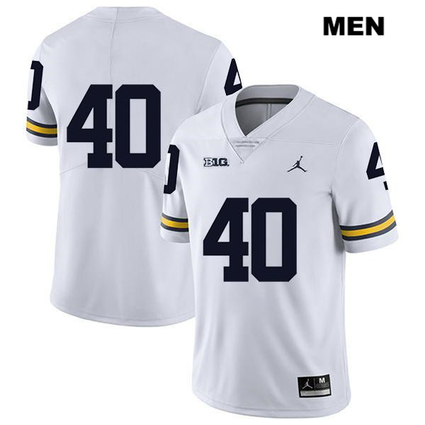 Mens no. 40 Jordan Michigan Wolverines White Legend Ryan Nelson Stitched Authentic College Football Jersey - No Name - Ryan Nelson Jersey